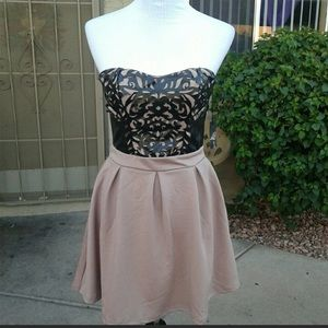Poof Pleather design over lay dress